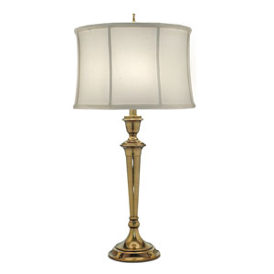 Burnished Brass One-Light Table Lamp with Off White Camelot Shade
