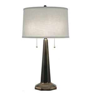 Oxidized Bronze One-Light Table Lamp with Cream Aberdeen Hardback Shade