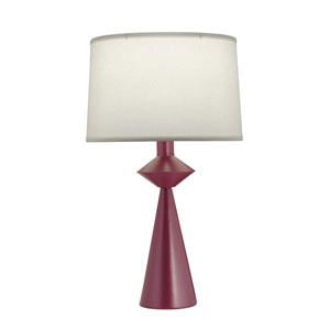 Textured Burgundy One-Light Table Lamp with Natural Linen Hardback Shade