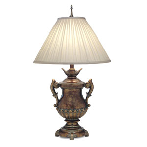 Amber Tortoise Shell One-Light Table Lamp with Honey Beige Windchime Box Pleat Shade