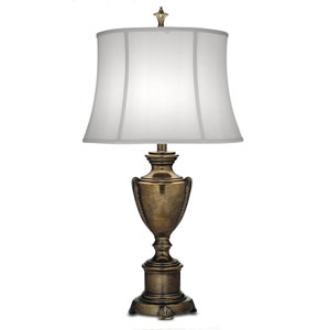 Smoked Umber One-Light Table Lamp with Off White Silk Shantung Shade
