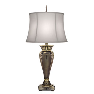 Roman Bronze One-Light Table Lamp with Off White Silk Shantung Shade