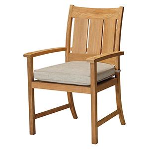 Croquet Teak Ivory Arm Chair with Linen Dove Cushion