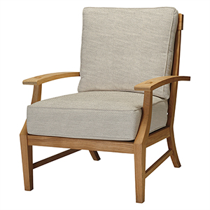 Croquet Teak Ivory Lounge Chair with Linen Dove Cushion