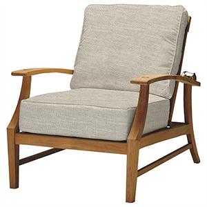 Croquet Teak Ivory Recliner with Linen Dove Cushion