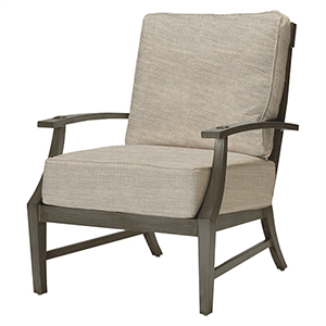 Croquet Aluminum Gray Lounge Chair with Linen Dove Cushion