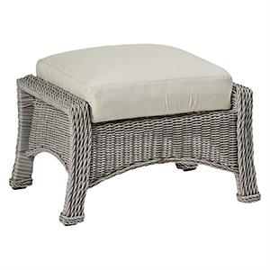 Regent Oyster Ottoman with Linen Dove Cushion
