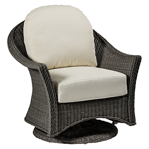 Regent Gray Swivel Glider with Linen Dove Cushion