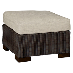 Club Woven Black Walnut Ottoman with Linen Dove Cushion