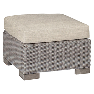Club Woven Oyster Ottoman with Linen Dove Cushion