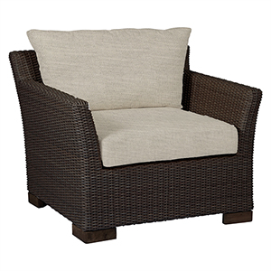 Club Woven Black Walnut Lounge Chair with Linen Dove Cushion