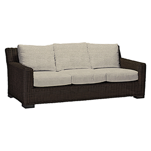 Rustic Black Walnut Wicker Sofa with Linen Dove Cushion