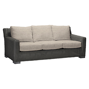 Rustic Gray Wicker Sofa with Linen Dove Cushion