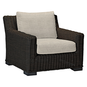 Rustic Black Walnut Wicker Lounge Chair with Linen Dove Cushion