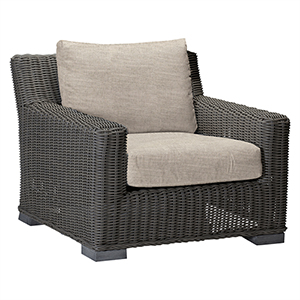 Rustic Gray Wicker Lounge Chair with Linen Dove Cushion