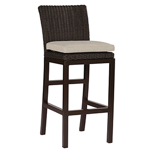 Rustic Black Walnut Wicker 30-Inch Barstool with Linen Dove Cushion
