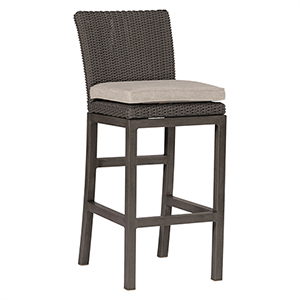 Rustic Gray Wicker 30-Inch Barstool with Linen Dove Cushion
