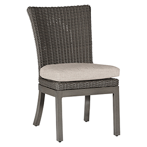 Rustic Gray Side Chair with Linen Dove Cushion-Set of 2