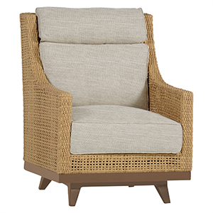 Peninsula Raffia Speaker Spring Lounge Chair with Linen Dove Cushion