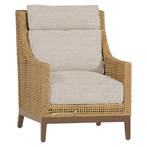 Peninsula Raffia and Sandalwood Lounge Chair with Linen Dove Cushion