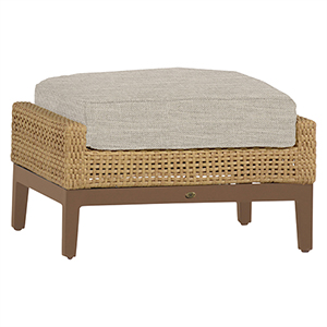 Peninsula Raffia and Sandalwood Ottoman with Linen Dove Cushion