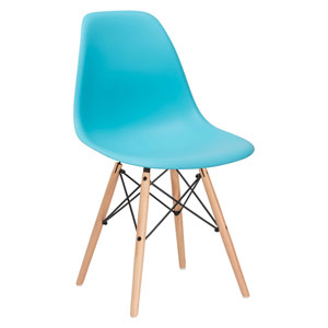 Nicollet Aqua Side Chair with Natural Legs