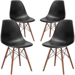 Nicollet Black Side Chair with Walnut Legs, Set of Four