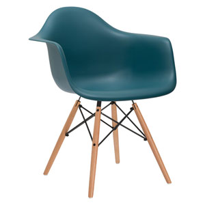Nicollet Teal Arm Chair with Natural Legs