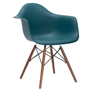 Nicollet Teal Arm Chair with Walnut Legs
