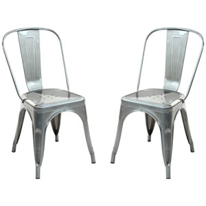 River Station Polished Gunmetal Side Chair, Set of Two