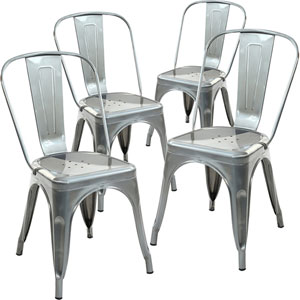 River Station Polished Gunmetal Side Chair, Set of Four