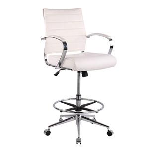 Nicollet White Vegan Leather Drafting Chair