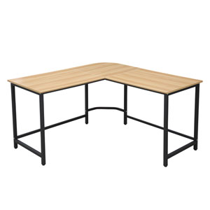 Selby Natural L-Shaped Office Desk with Black Base
