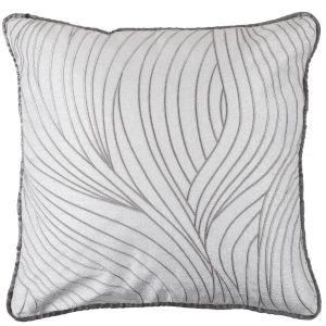Celeste White 16 In. X 26 In. Zebra and Wave Embroidery Throw Pillow