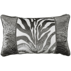 Celeste Siver and Gray 18 In. X 18 In. Wave Embroidery Throw Pillow