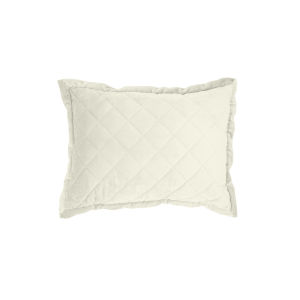 Velvet Diamond Cream 12 In. X 16 In. Quilted Throw Pillow