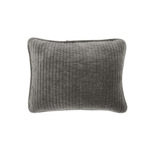 Stonewashed Velvet Gray 12 In. X 16 In. Throw Pillow
