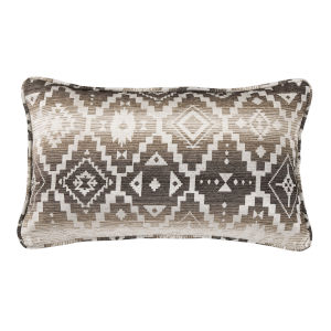 Chalet White and Brown 21 In. X 34 In. Throw Pillow