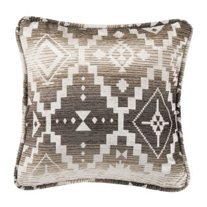 Chalet White and Brown 18 In. X 18 In. Throw Pillow