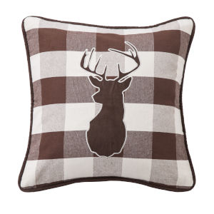 Huntsman White and Brown 18 In. X 18 In. Embroidered Deer Throw Pillow