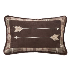 Huntsman Brown and Tan 12 In. X 19 In. Embroidery Arrow Throw Pillow
