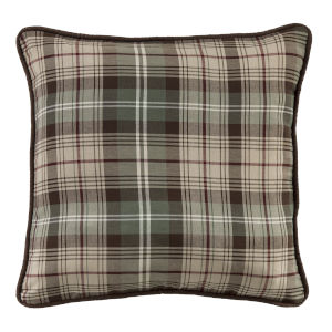 Huntsman Brown and Cream 22 In. X 22 In. Plaid Throw Pillow