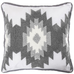 Free Spirit Gray and White 18 In. X 18 In. Throw Pillow with Crewel Embroidery