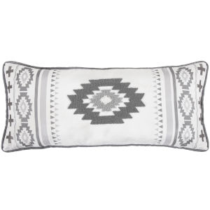 Free Spirit Gray and White 36 In. X 16 In. Throw Pillow