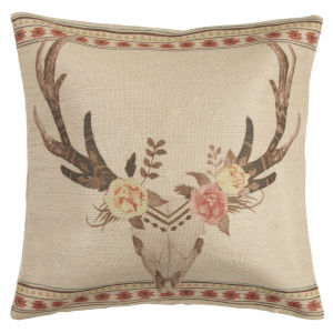 Desert Skull Tan and Pink 22 In. X 22 In. Throw Pillow