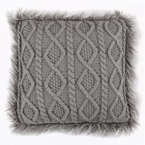 Nordic Gray 18 In. X 18 In. Cable Kniw Throw Pillow
