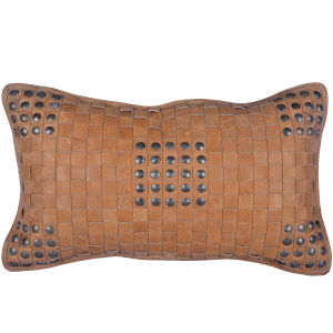 Tan 20 In. X 12 In. Basket Weave Leather Throw Pillow