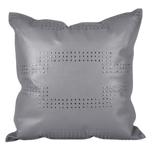Gray 20 In. X 20 In. Geometric Studded Leather Throw Pillow