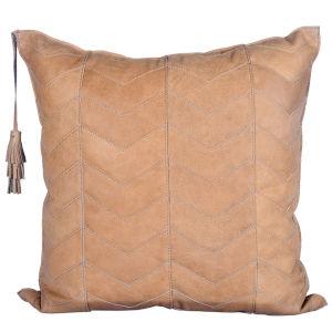 Chevron Tan 24 In. X 24 In. Leather Throw Pillow