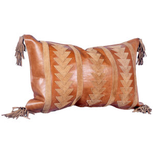 Tan 20 In. X 12 In. Arrow Design Leather Throw Pillow with Tassel